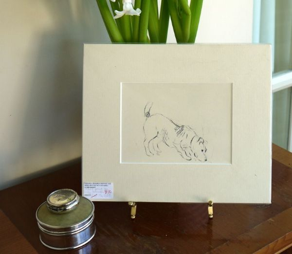 Terrier - outline, sniffing  1930's print by Lucy Dawson